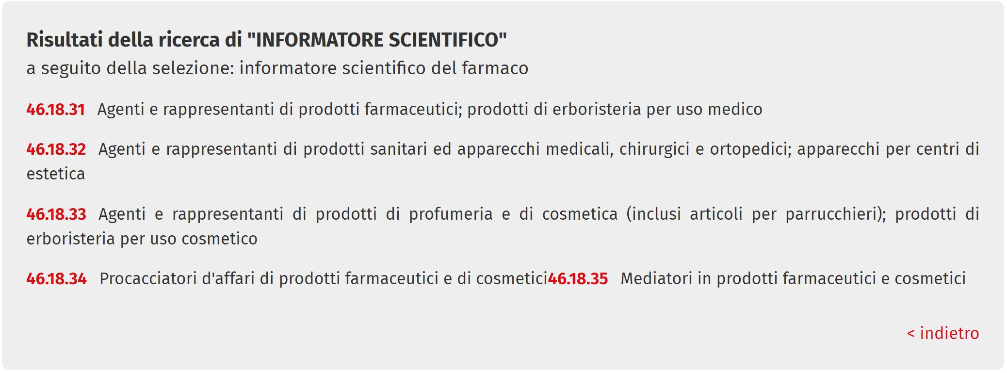 informatore scientifico Ateco