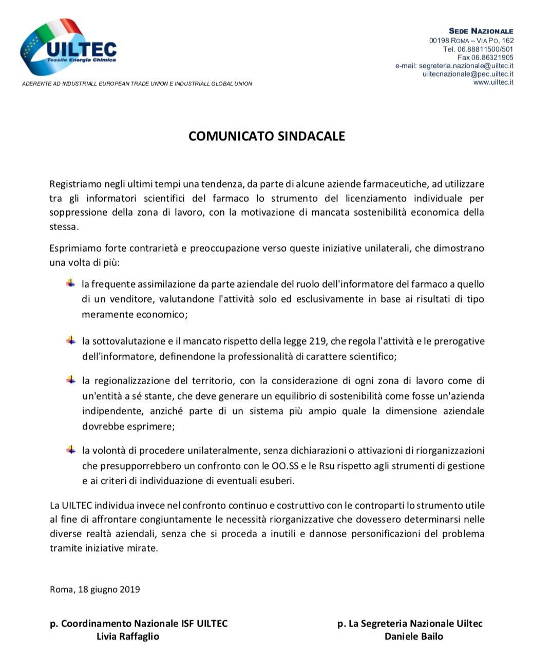 Comunicato sindacale UILTEC - ISF