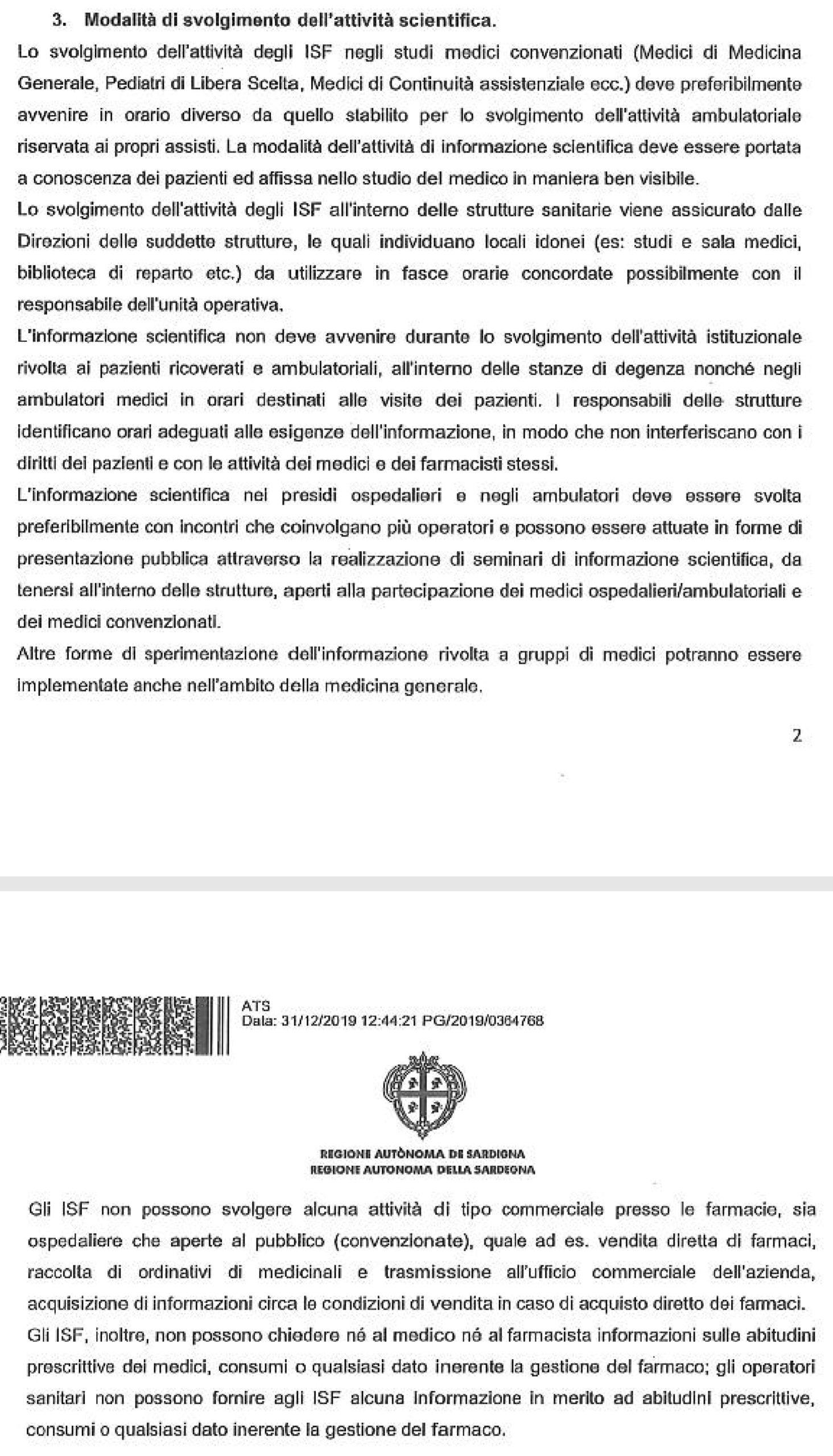 Estratto regolamentazione Accesso ISF regione Sardegna